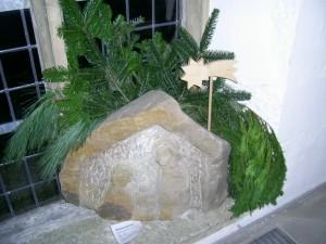 Krippe in Sandstein gehauen 80 x 70 cm